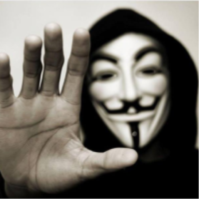 V for vendetta mask and hand in stopping motion