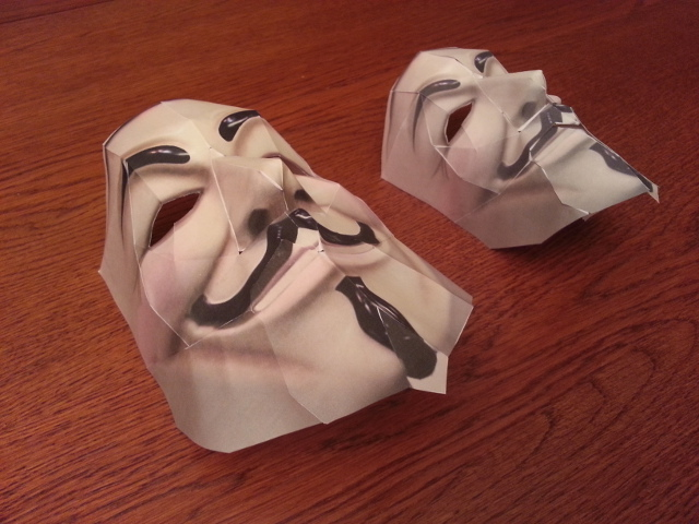 Guy fawkes mask in paper both adult and child size