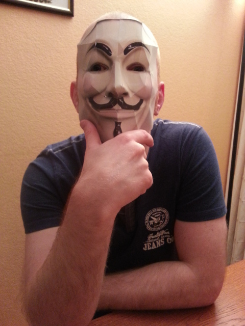 Ken wearing a self made guy fawkes mask